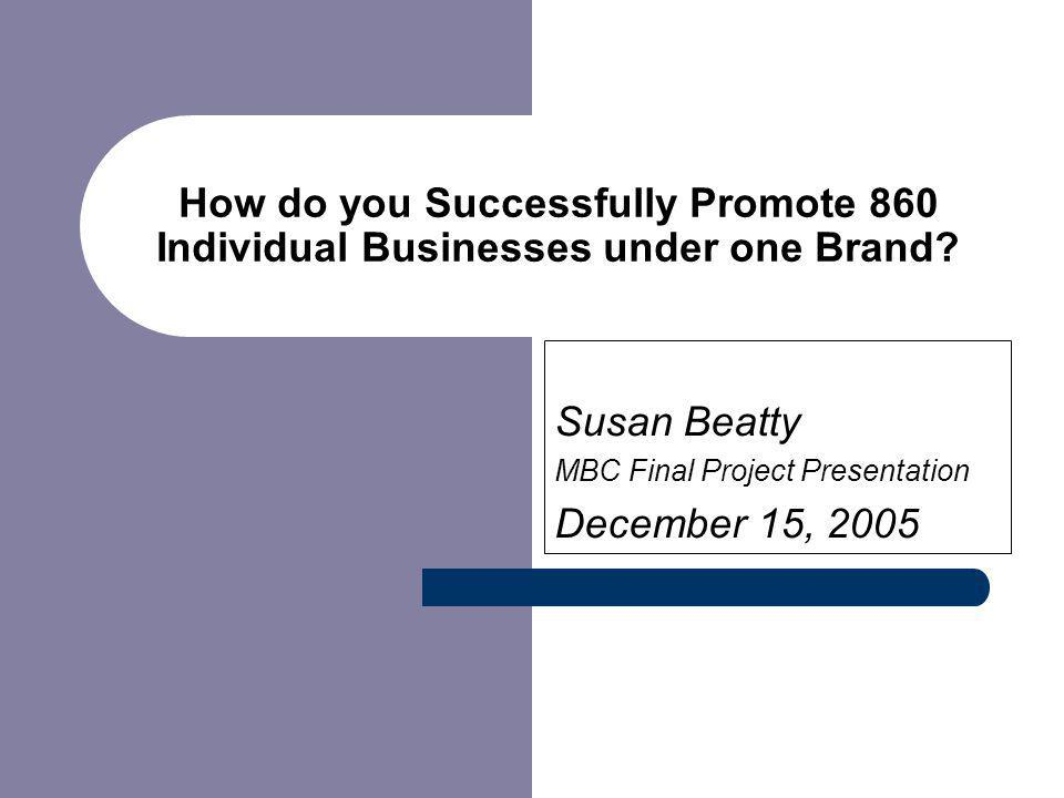 How do you Successfully Promote 860 Individual Businesses under one Brand.