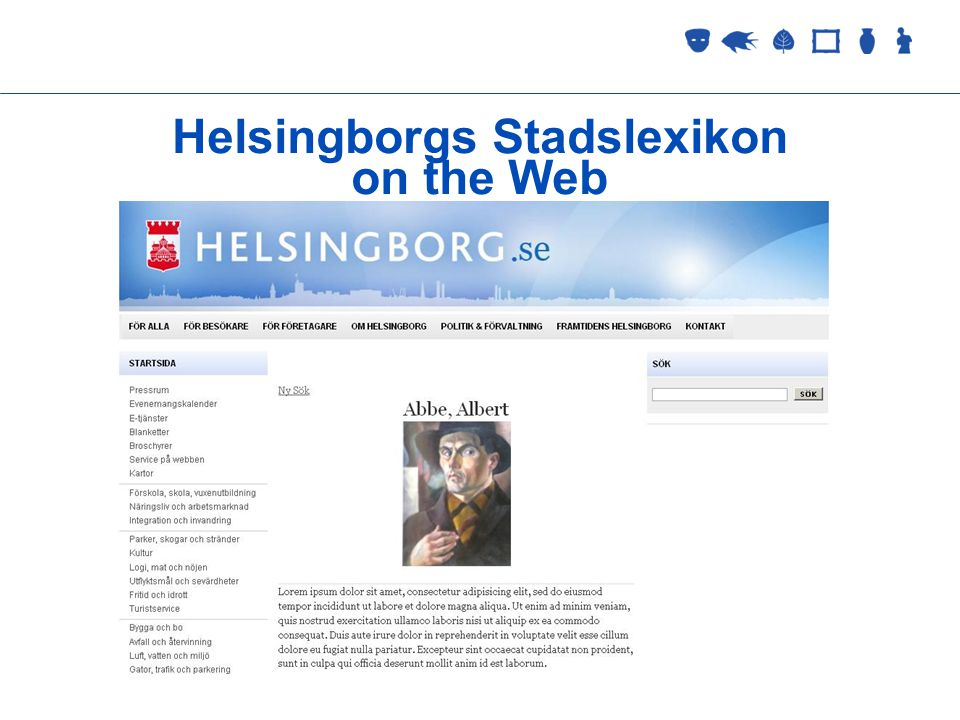 Collections Management 2 September 2005 Helsingborgs Stadslexikon on the Web