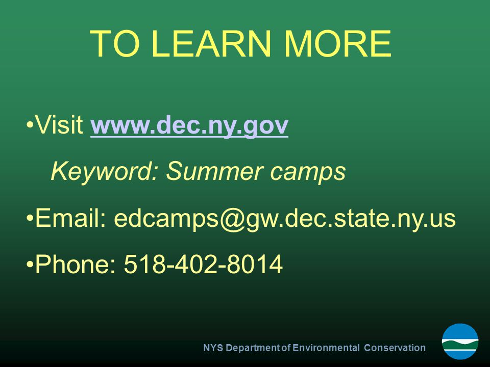 NYS Department of Environmental Conservation TO LEARN MORE Visit www.dec.ny.govwww.dec.ny.gov Keyword: Summer camps Email: edcamps@gw.dec.state.ny.us Phone: 518-402-8014