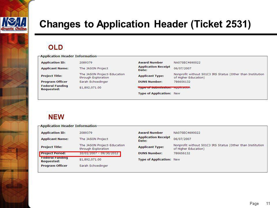 Page 11 Changes to Application Header (Ticket 2531) OLD NEW