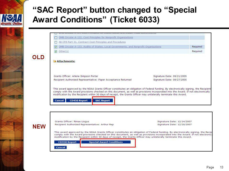 Page 13 SAC Report button changed to Special Award Conditions (Ticket 6033) OLD NEW