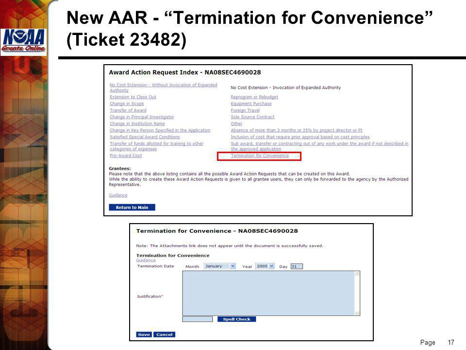 Page 17 New AAR - Termination for Convenience (Ticket 23482)