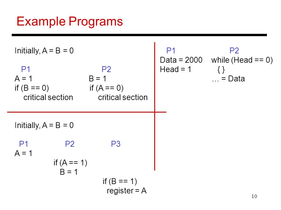 10 Example Programs Initially, A = B = 0 P1 P2 A = 1 B = 1 if (B == 0) if (A == 0) critical section critical section Initially, A = B = 0 P1 P2 P3 A = 1 if (A == 1) B = 1 if (B == 1) register = A P1 P2 Data = 2000 while (Head == 0) Head = 1 { } … = Data