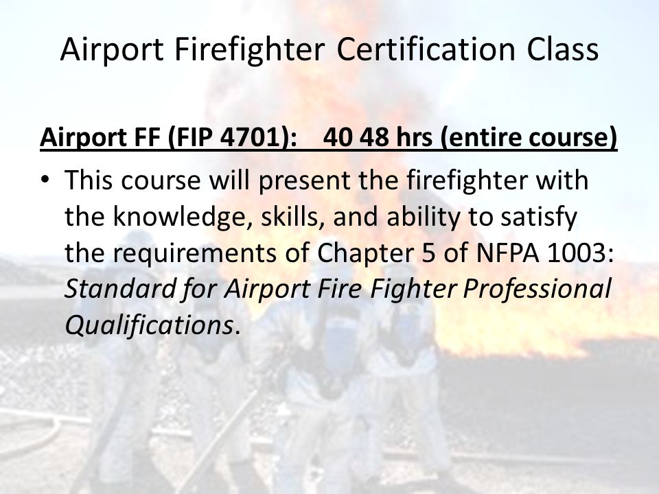Airport Firefighter (AFF) Instructor Online Requalification North ...