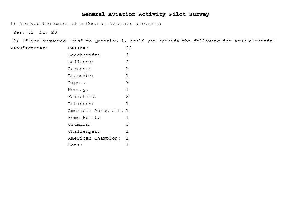 General Aviation Activity Pilot Survey 1) Are you the owner of a General Aviation aircraft.