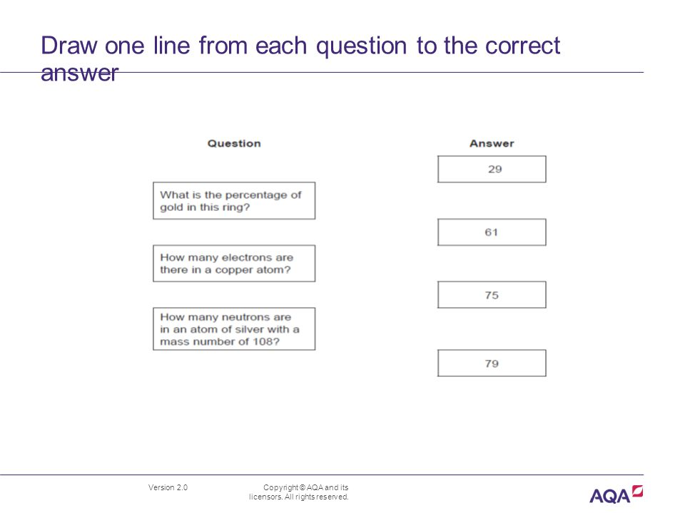 Draw one line from each question to the correct answer Version 2.0 Copyright © AQA and its licensors.