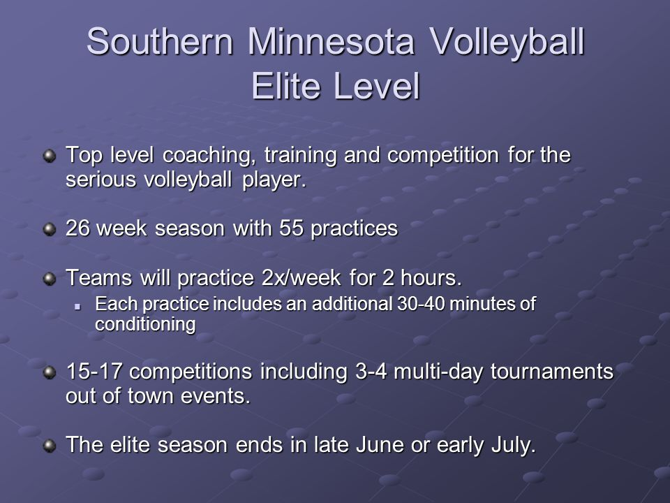 Southern Minnesota Volleyball Elite Level Top level coaching, training and competition for the serious volleyball player.