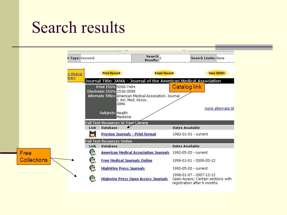 Search results Catalog link Free Collections
