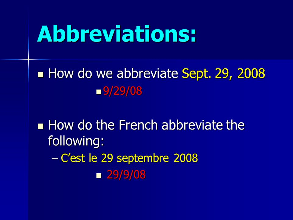 Abbreviations: How do we abbreviate Sept.