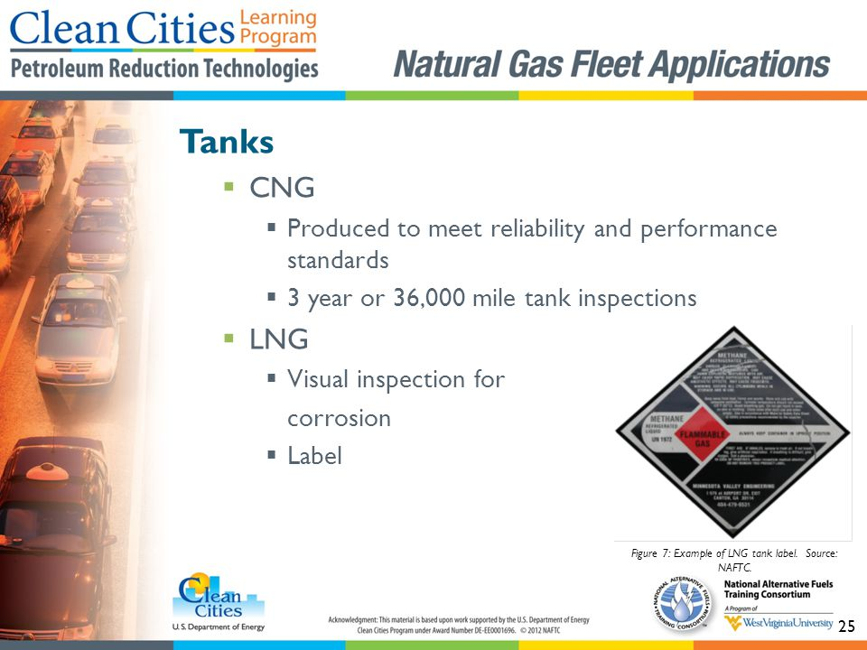 25 Tanks CNG Produced to meet reliability and performance standards 3 year or 36,000 mile tank inspections LNG Visual inspection for corrosion Label Figure 7: Example of LNG tank label.
