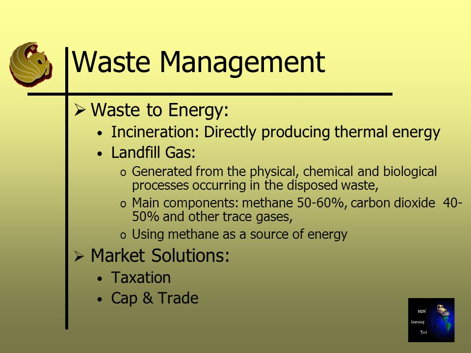 Waste Management Waste to Energy: Incineration: Directly producing thermal energy Landfill Gas: o Generated from the physical, chemical and biological processes occurring in the disposed waste, o Main components: methane 50-60%, carbon dioxide % and other trace gases, o Using methane as a source of energy Market Solutions: Taxation Cap & Trade