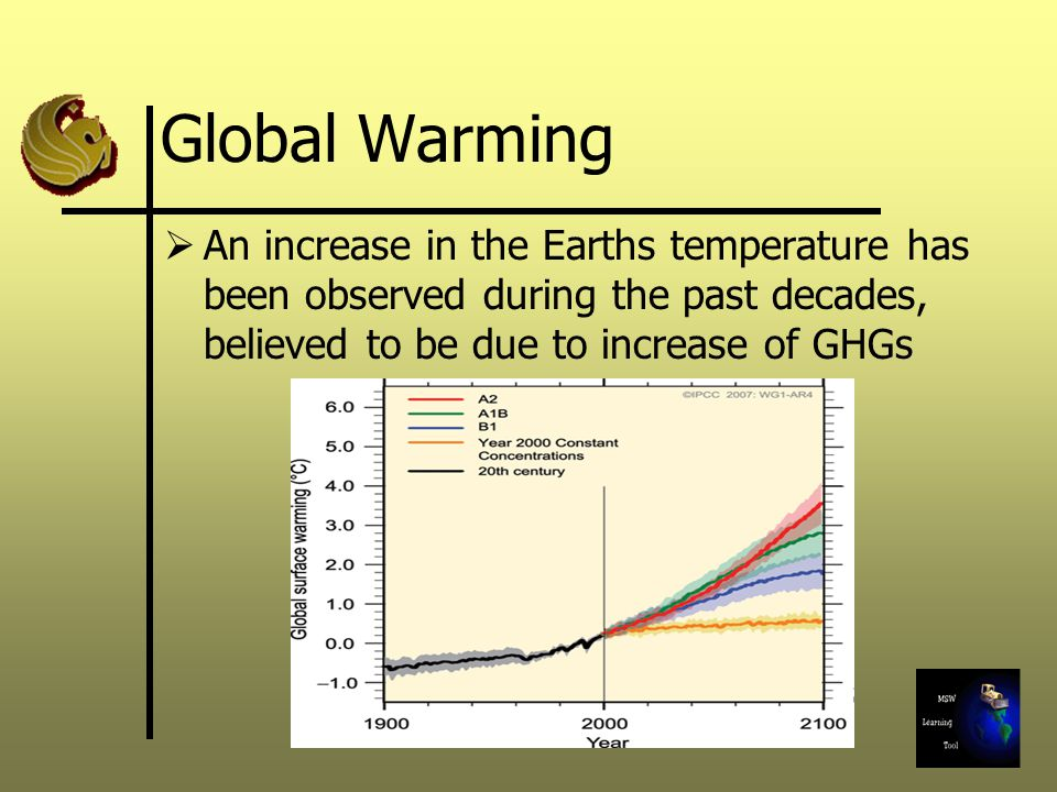 Global Warming An increase in the Earths temperature has been observed during the past decades, believed to be due to increase of GHGs