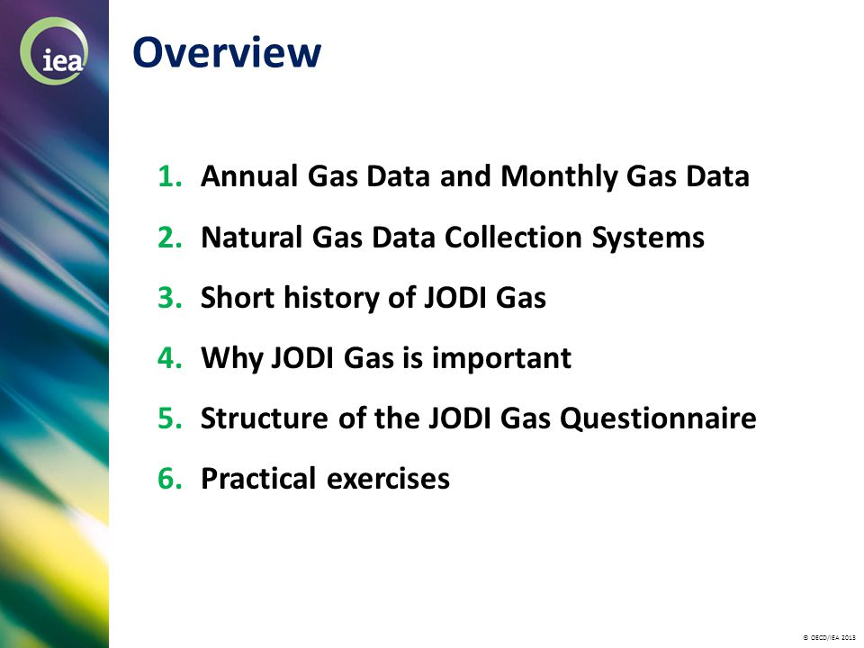 © OECD/IEA 2013 Overview 1.Annual Gas Data and Monthly Gas Data 2.Natural Gas Data Collection Systems 3.Short history of JODI Gas 4.Why JODI Gas is important 5.Structure of the JODI Gas Questionnaire 6.Practical exercises