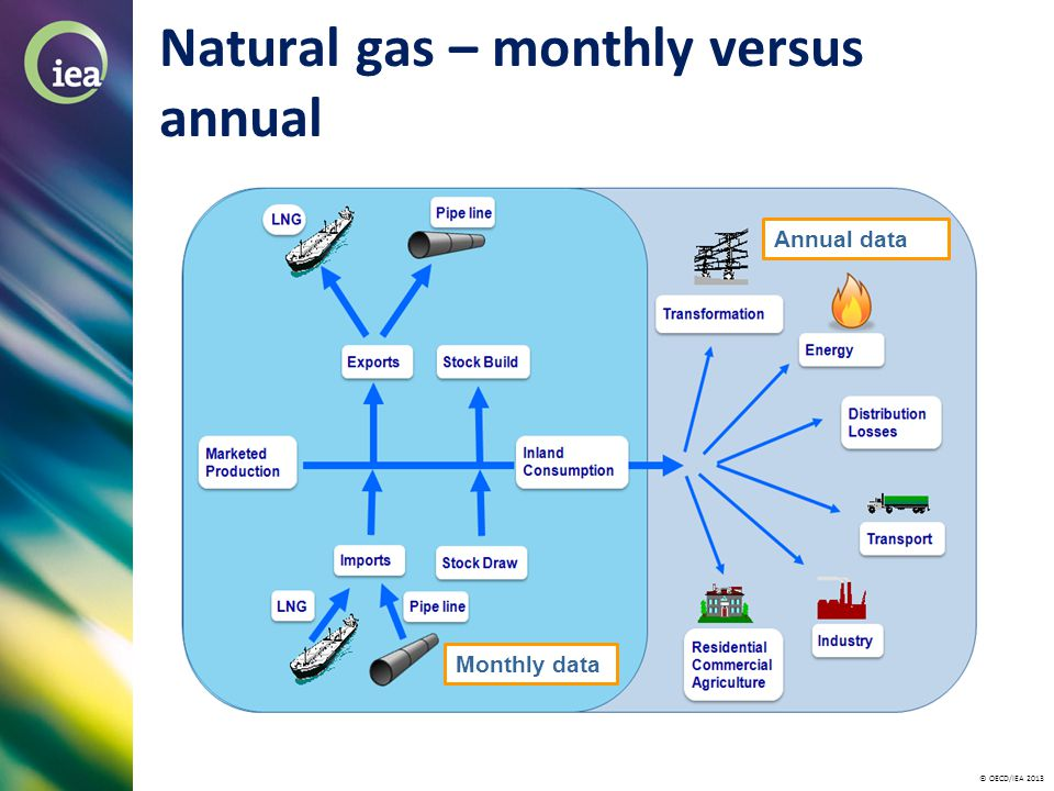 © OECD/IEA 2013 Natural gas – monthly versus annual Monthly data Annual data