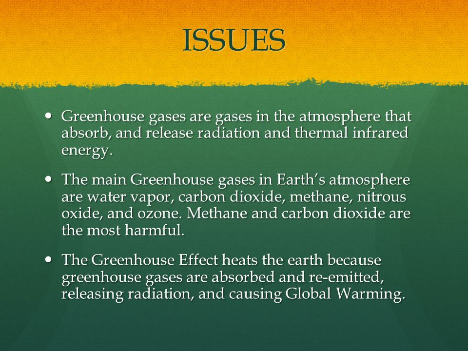 ISSUES Greenhouse gases are gases in the atmosphere that absorb, and release radiation and thermal infrared energy.