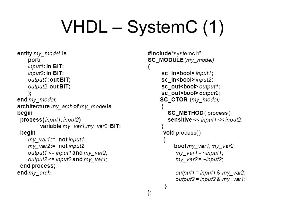 VHDL – SystemC (1) entity my_model is port( input1: in BIT; input2: in BIT; output1: out BIT; output2: out BIT; ); end my_model; architecture my_arch of my_model is begin process( input1, input2) variable my_var1,my_var2: BIT; begin my_var1 := not input1; my_var2 := not input2; output1 <= input1 and my_var2; output2 <= input2 and my_var1; end process; end my_arch; #include systemc.h SC_MODULE (my_model) { sc_in input1; sc_in input2; sc_out output1; sc_out output2; SC_CTOR (my_model) { SC_METHOD ( process ); sensitive << input1 << input2; } void process( ) { bool my_var1, my_var2; my_var1 = ~input1; my_var2 = ~input2; output1 = input1 & my_var2; output2 = input2 & my_var1; } };