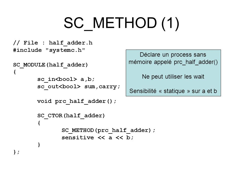 SC_METHOD (1) // File : half_adder.h #include systemc.h SC_MODULE(half_adder) { sc_in a,b; sc_out sum,carry; void prc_half_adder(); SC_CTOR(half_adder) { SC_METHOD(prc_half_adder); sensitive << a << b; } }; Déclare un process sans mémoire appelé prc_half_adder() Ne peut utiliser les wait Sensibilité « statique » sur a et b