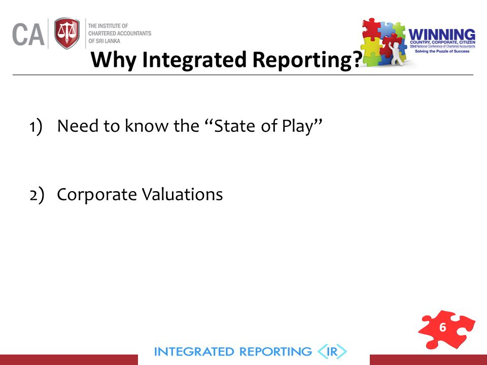 6 Why Integrated Reporting 1)Need to know the State of Play 2)Corporate Valuations