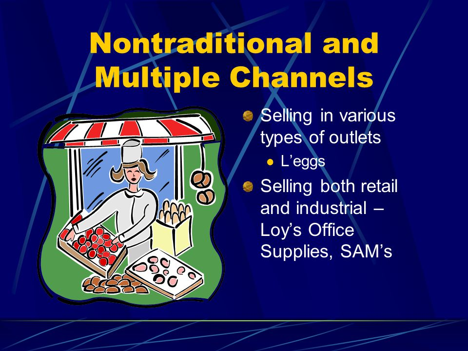 Nontraditional and Multiple Channels Selling in various types of outlets Leggs Selling both retail and industrial – Loys Office Supplies, SAMs