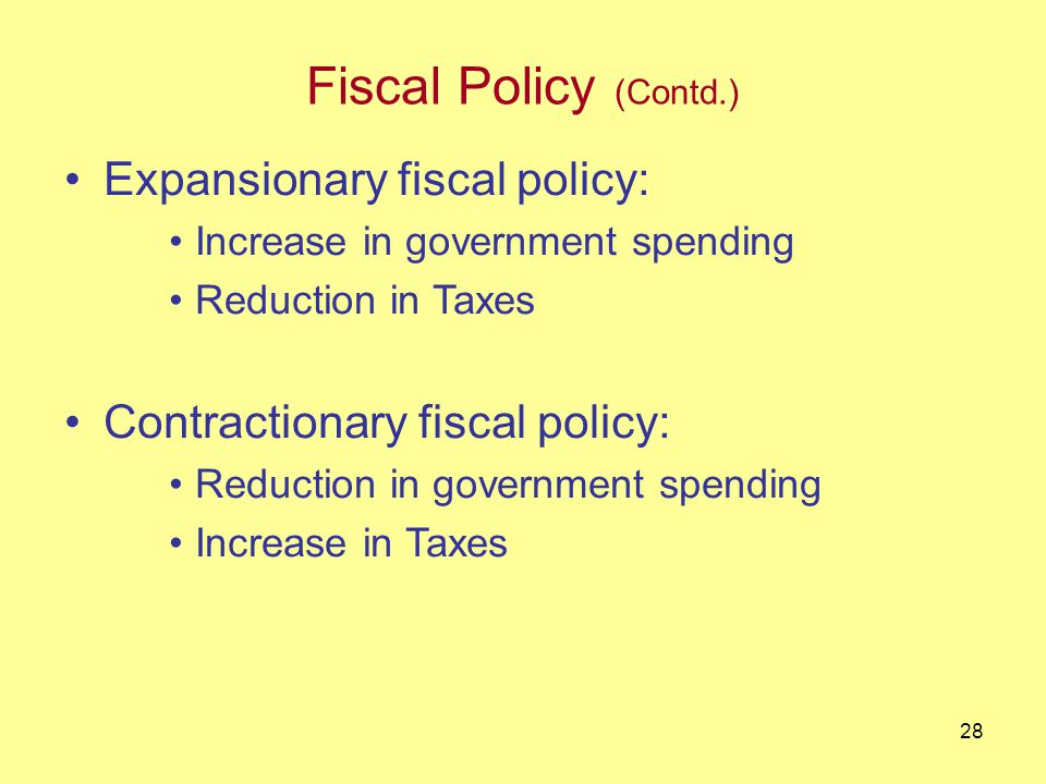 27 Fiscal Policy Fiscal policy : Government spending and Taxation (government income) decisions.