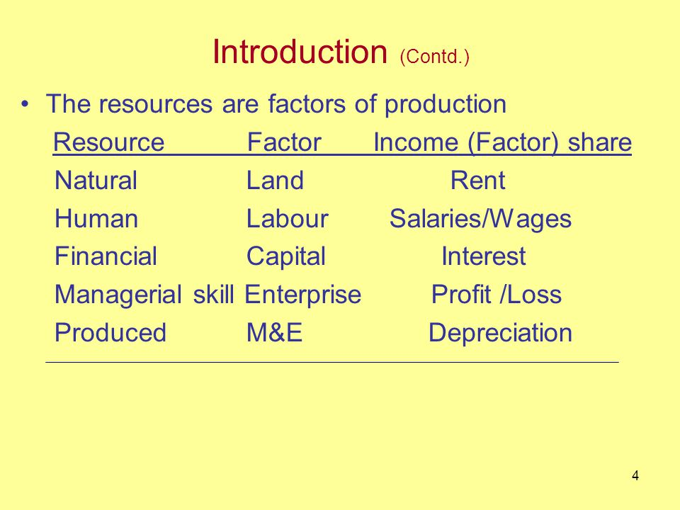 3 Introduction People have unlimited wants and needs The wants and needs are satisfied by consuming goods and services (commodities) Commodities are produced by using resources Income gets generated to owners of resources who get income (factor) shares in the process of production of goods and services