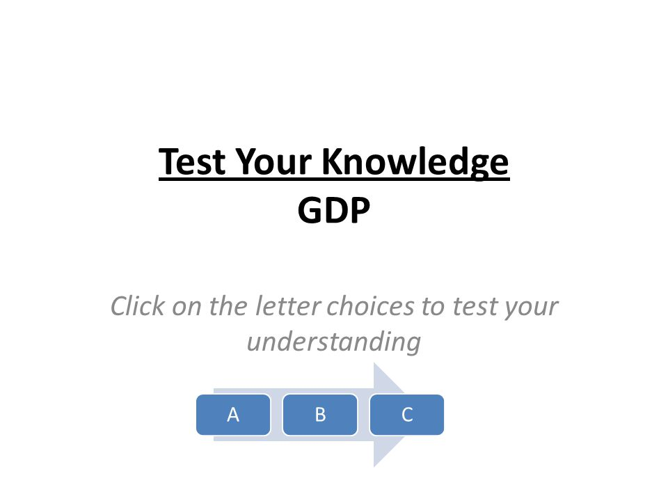Test Your Knowledge GDP Click on the letter choices to test your understanding ABC