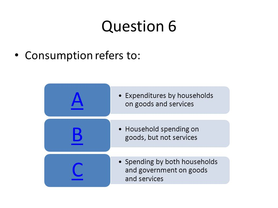 Question 6 Consumption refers to: Expenditures by households on goods and services A Household spending on goods, but not services B Spending by both households and government on goods and services C