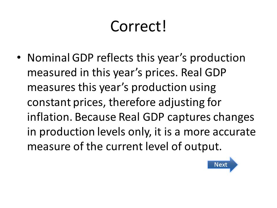 Correct. Nominal GDP reflects this years production measured in this years prices.