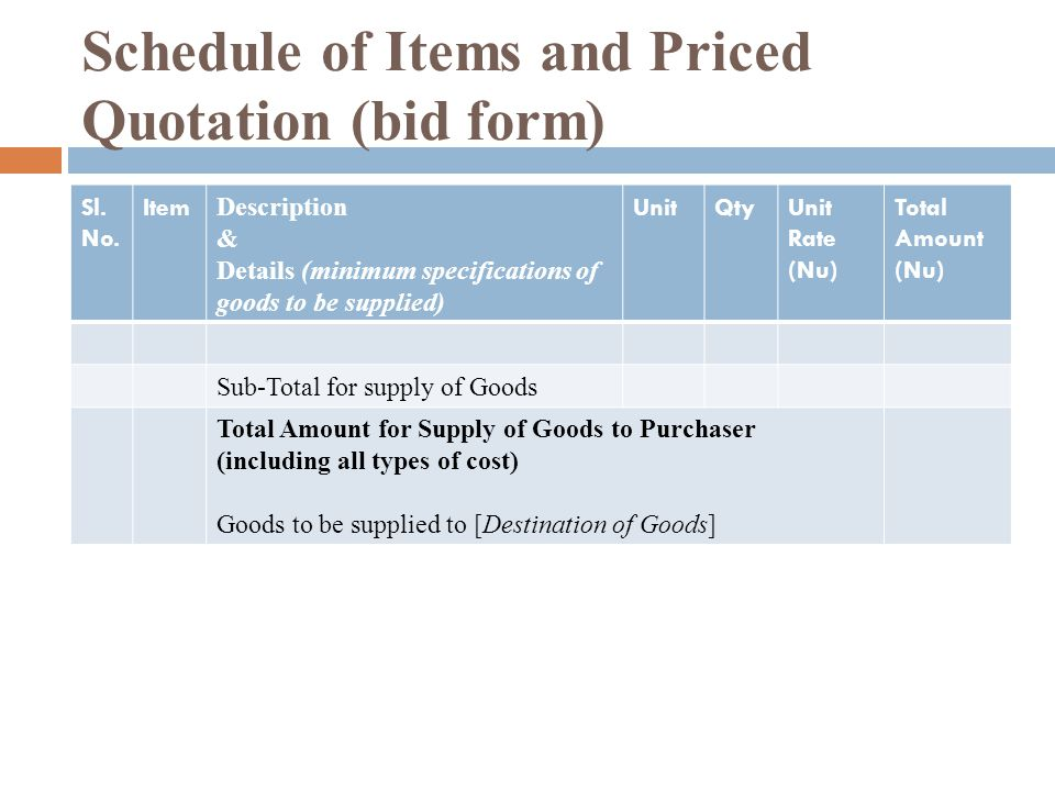 Schedule of Items and Priced Quotation (bid form) Sl.
