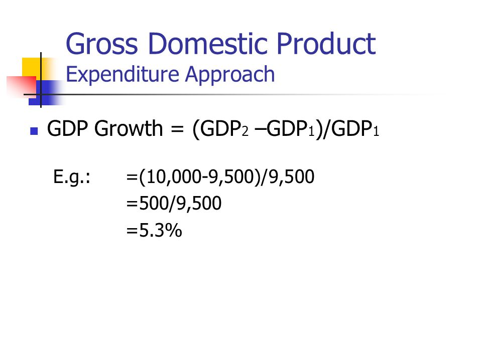 Gross Domestic Product Expenditure Approach GDP Growth = (GDP 2 –GDP 1 )/GDP 1 E.g.:=(10,000-9,500)/9,500 =500/9,500 =5.3%
