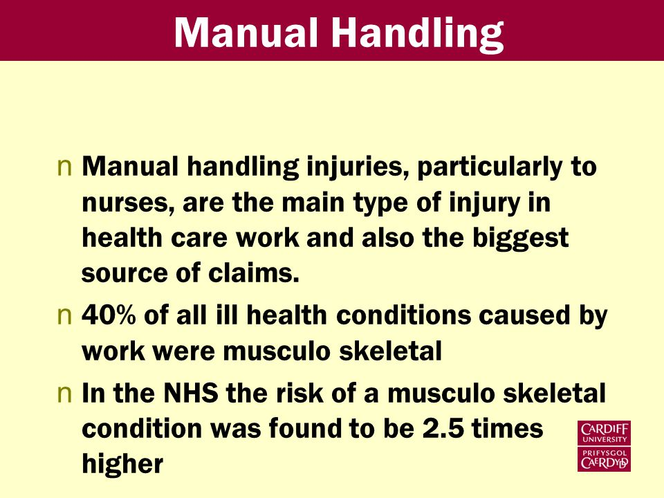 Manual Handling nManual handling injuries, particularly to nurses, are the main type of injury in health care work and also the biggest source of claims.