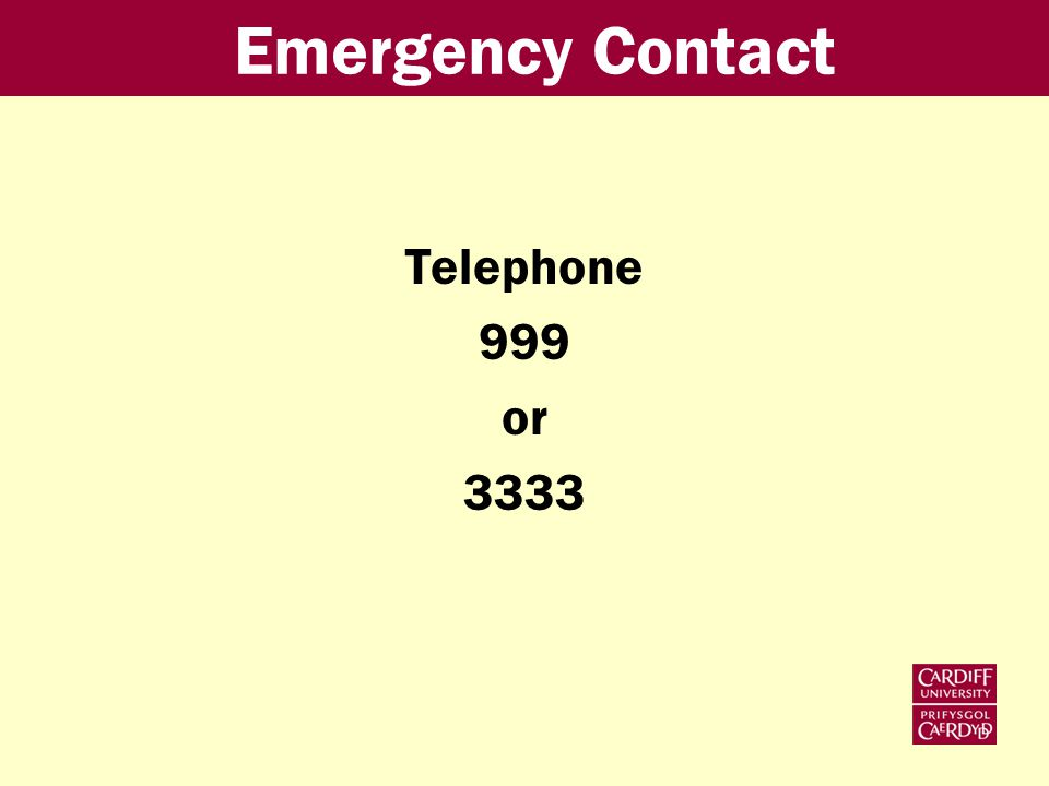 Emergency Contact Telephone 999 or 3333