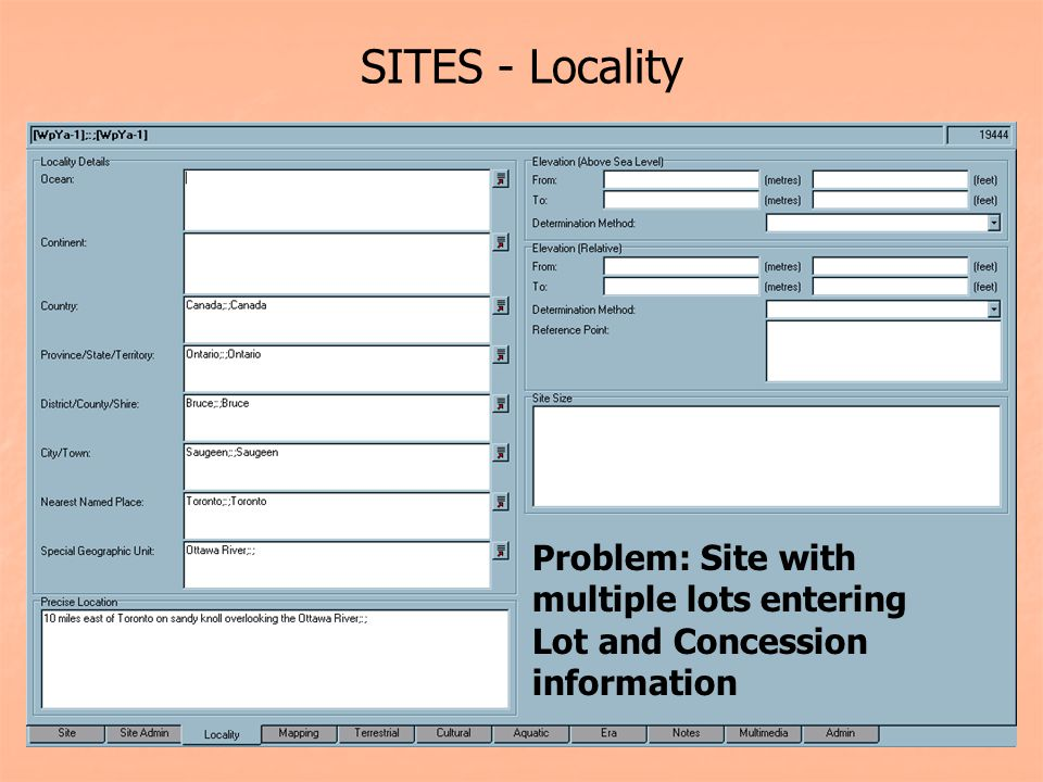 SITES - Locality Problem: Site with multiple lots entering Lot and Concession information