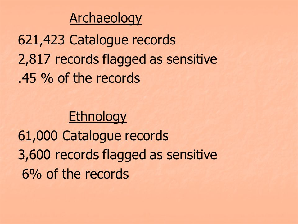Archaeology 621,423 Catalogue records 2,817 records flagged as sensitive.45 % of the records Ethnology 61,000 Catalogue records 3,600 records flagged as sensitive 6% of the records