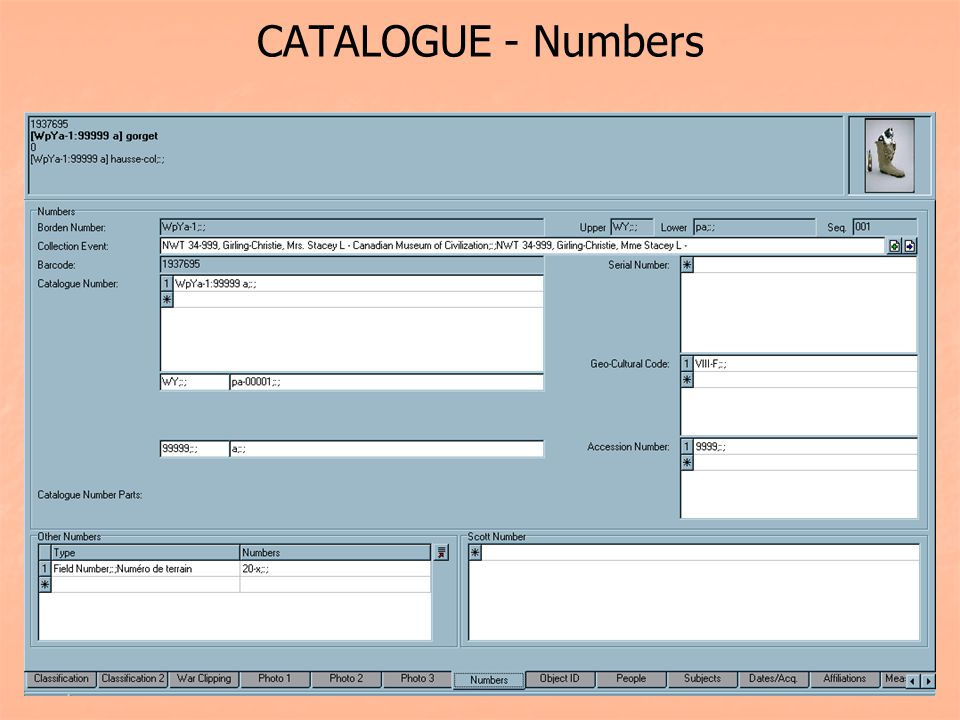 CATALOGUE - Numbers