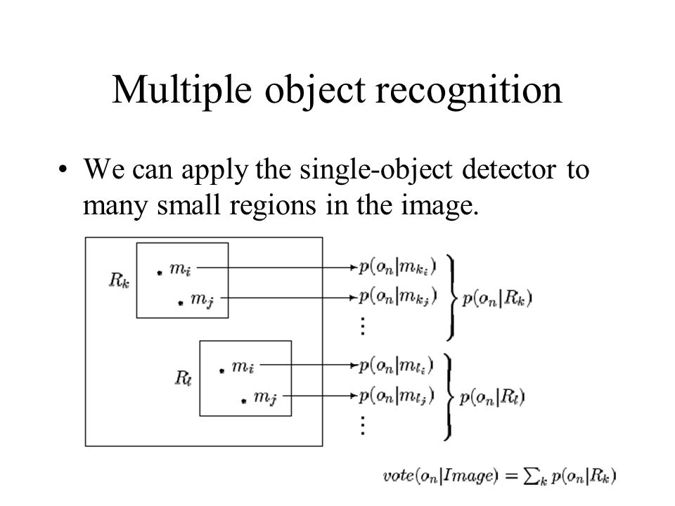 Multiple object recognition We can apply the single-object detector to many small regions in the image.
