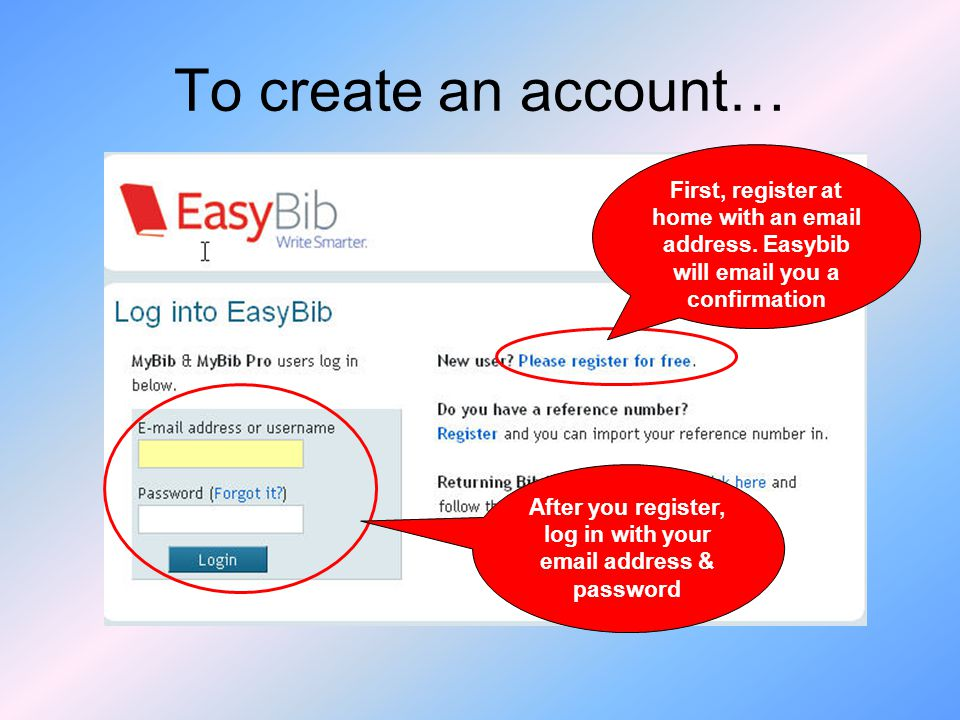 To create an account… First, register at home with an  address.