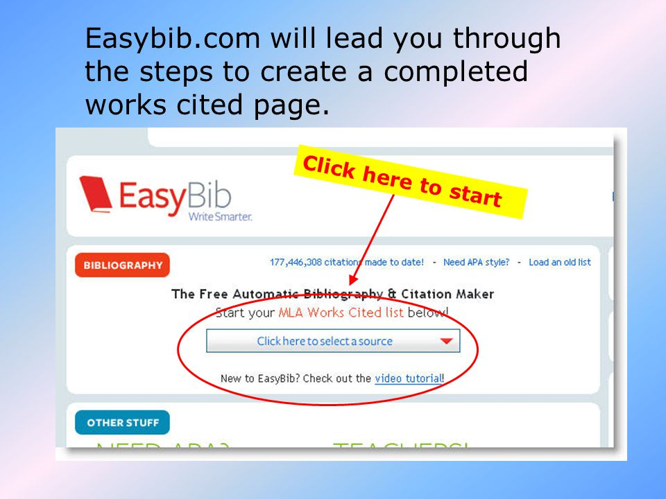 Easybib.com will lead you through the steps to create a completed works cited page.