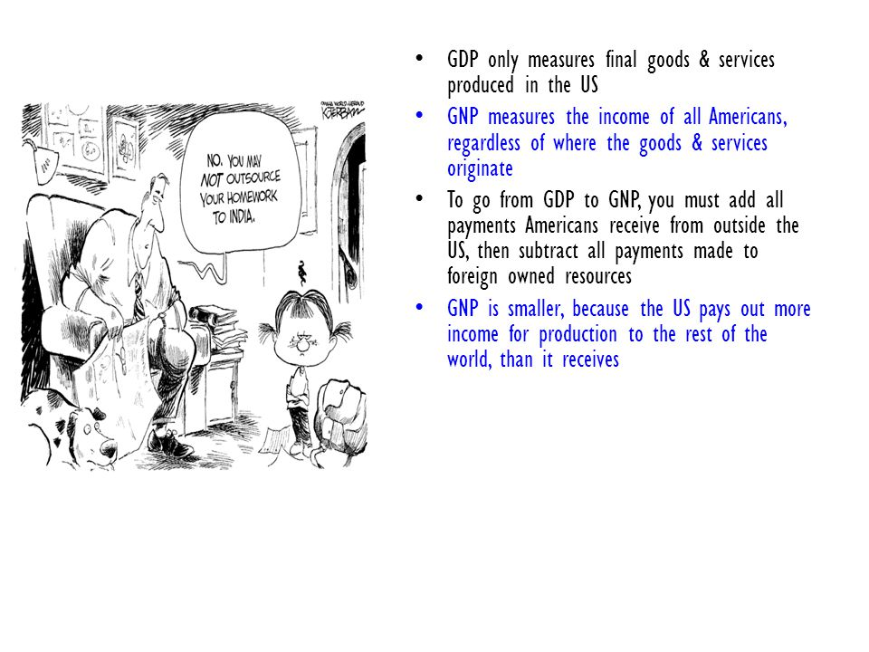 GDP only measures final goods & services produced in the US GNP measures the income of all Americans, regardless of where the goods & services originate To go from GDP to GNP, you must add all payments Americans receive from outside the US, then subtract all payments made to foreign owned resources GNP is smaller, because the US pays out more income for production to the rest of the world, than it receives