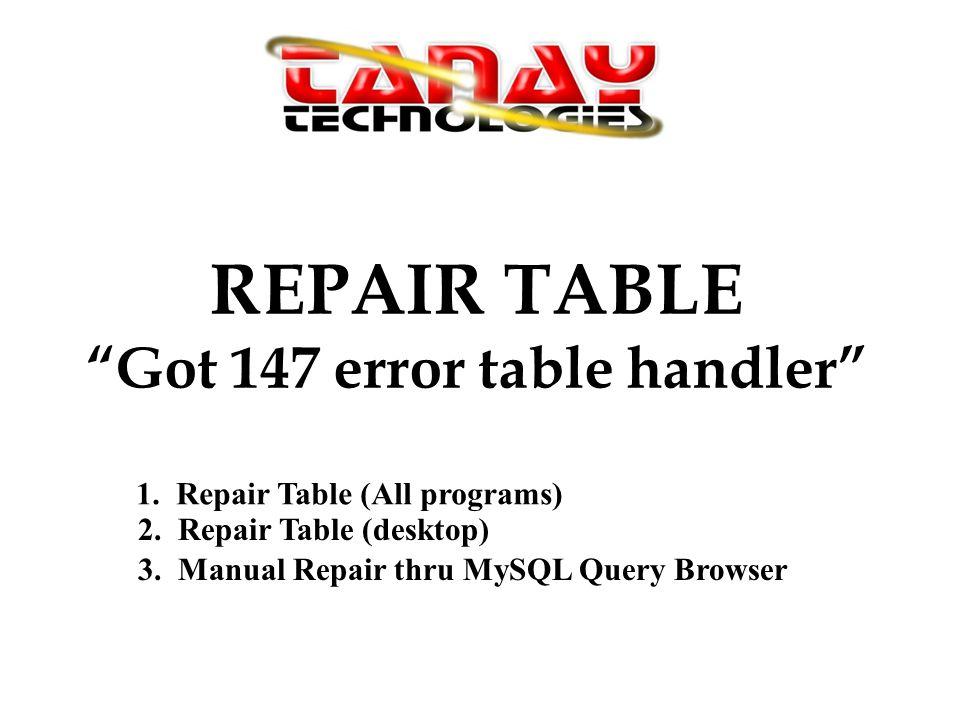 Strange Repair Table Got 147 Error Table Handler 1 Repair Table Best Image Libraries Counlowcountryjoecom