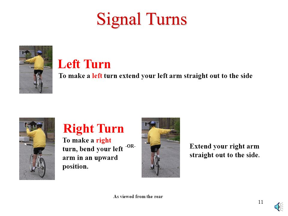 10 Signal Turns Left Turn To make a left turn extend your left arm straight out to the side As viewed from the rear