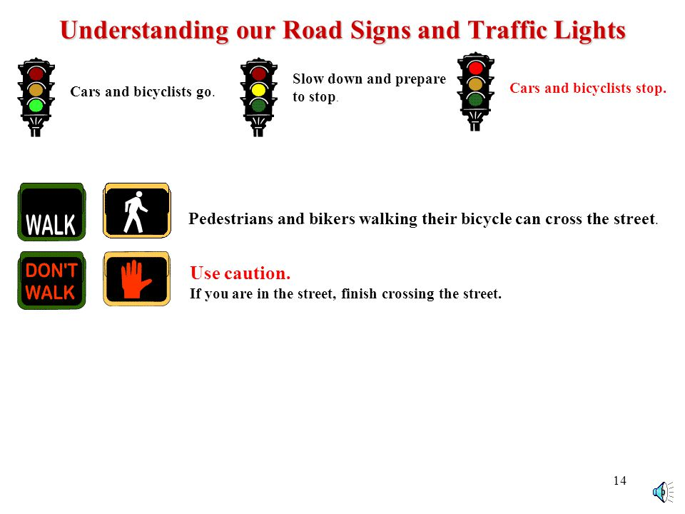 13 Understanding our Road Signs and Traffic Lights Cars and bicyclists go.