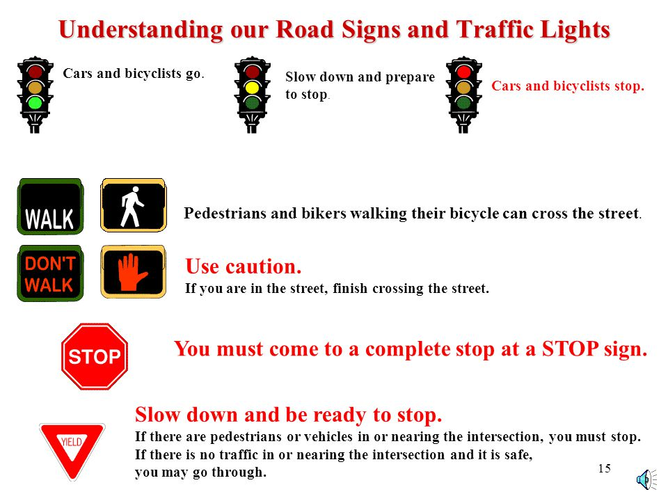 14 Understanding our Road Signs and Traffic Lights Cars and bicyclists go.