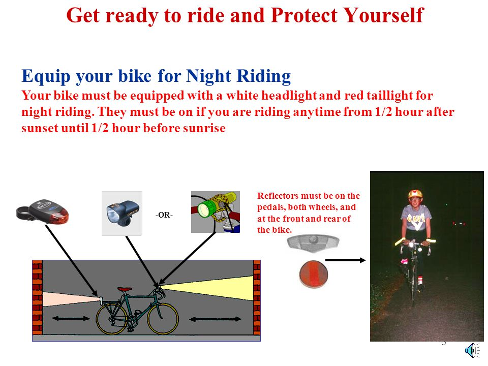 4 Get ready to ride and Protect Yourself Wear a Helmet For your safety, you should always wear a well fitted Bicycle Helmet.
