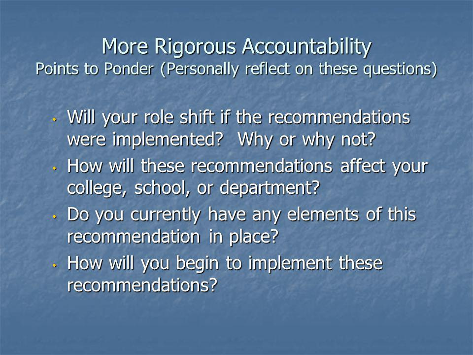 More Rigorous Accountability Points to Ponder (Personally reflect on these questions) Will your role shift if the recommendations were implemented.