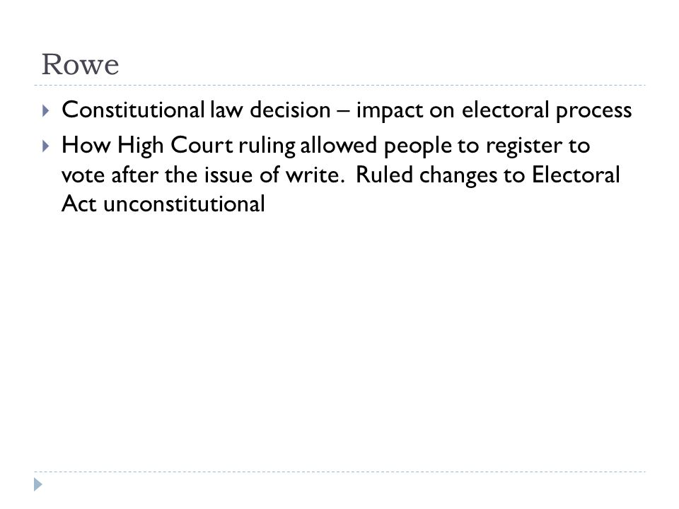 Rowe Constitutional law decision – impact on electoral process How High Court ruling allowed people to register to vote after the issue of write.