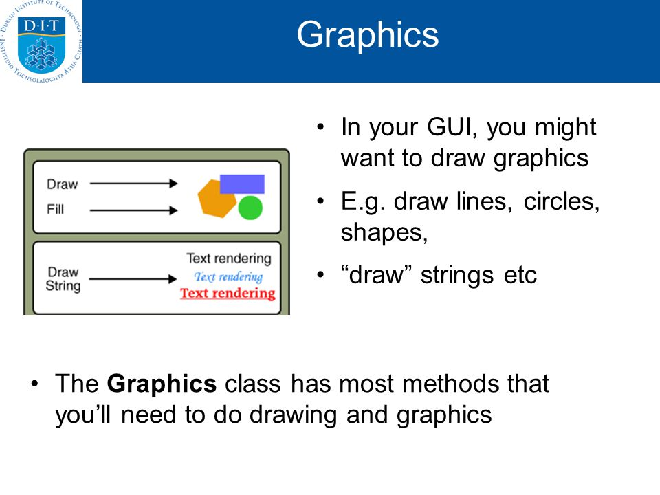 Graphics In your GUI, you might want to draw graphics E.g.
