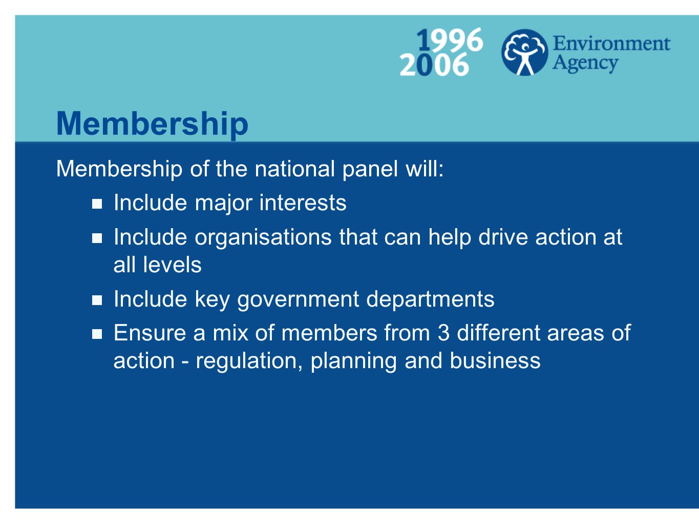 Membership Membership of the national panel will: Include major interests Include organisations that can help drive action at all levels Include key government departments Ensure a mix of members from 3 different areas of action - regulation, planning and business