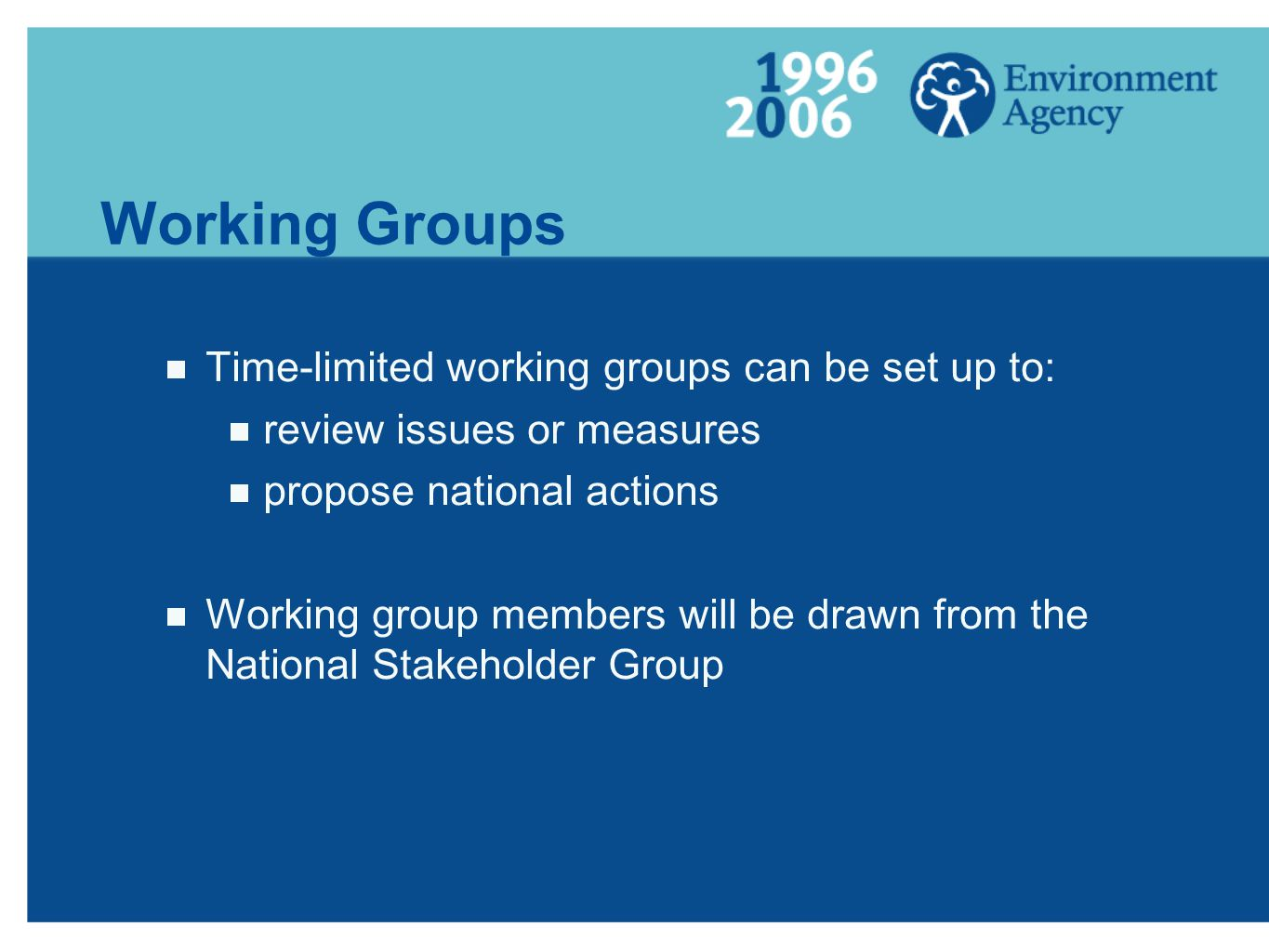 Working Groups Time-limited working groups can be set up to: review issues or measures propose national actions Working group members will be drawn from the National Stakeholder Group