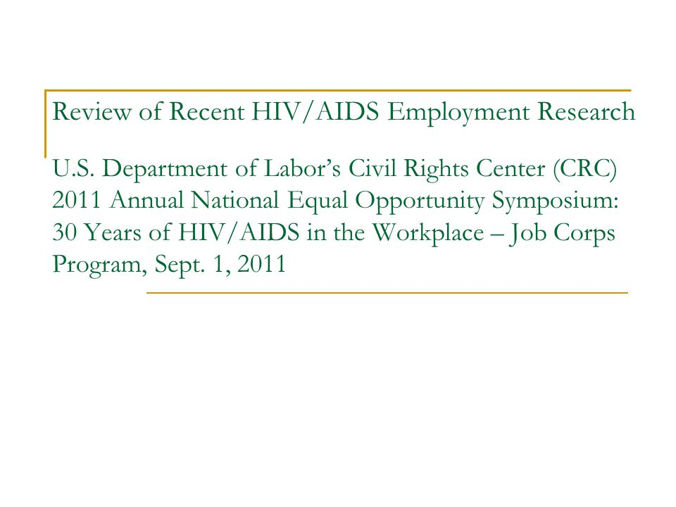 Review of Recent HIV/AIDS Employment Research U.S.